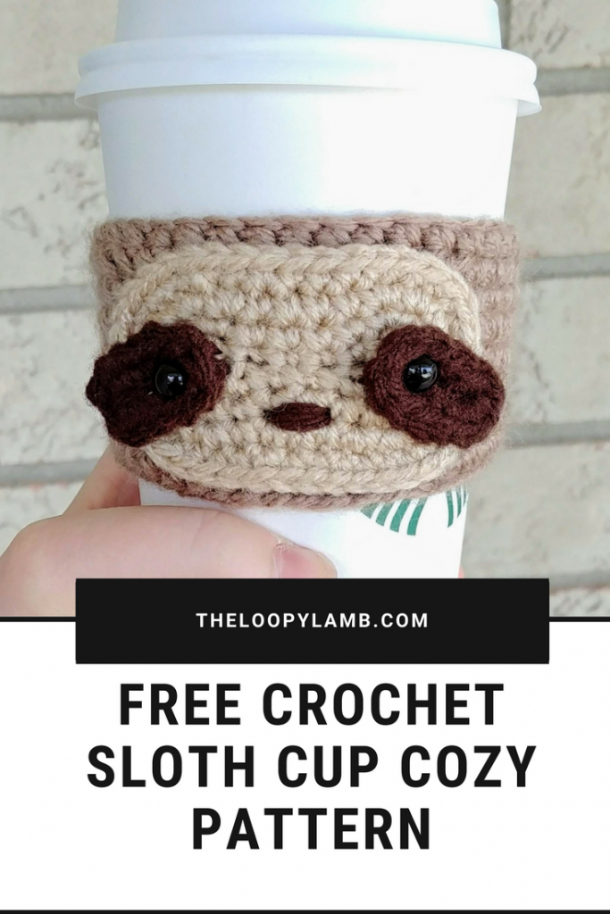 Free Crochet Sloth Cup Cozy Pattern from The Loopy Lamb. An adorable and quick crochet pattern that is great for beginners. Free Crochet Cup Cozy Pattern, Sloth Cup Cozy