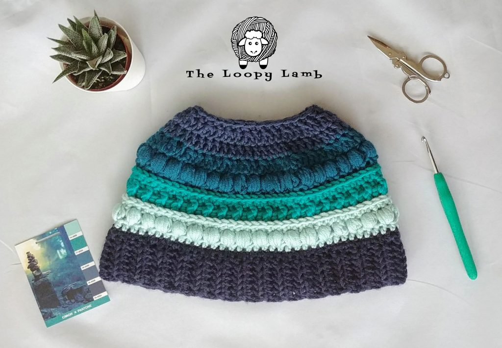 Free Crochet Hat Pattern: Polar Puff Messy Bun Hat by The Loopy Lamb
