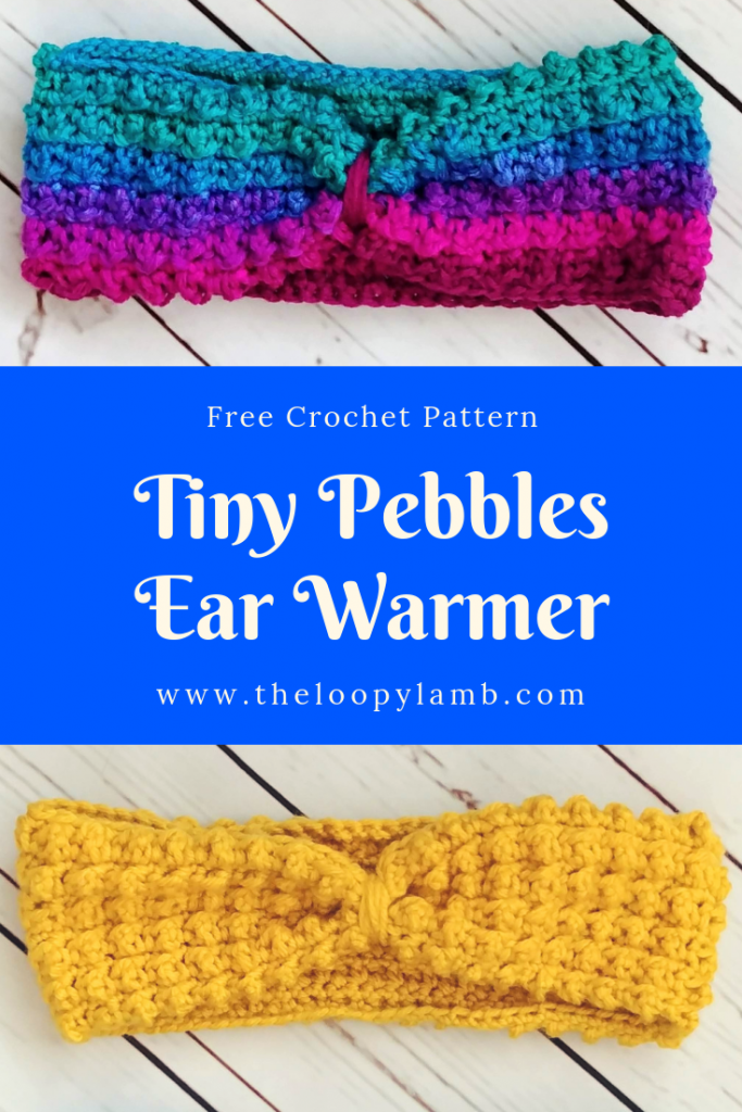 Two Tiny Pebbles Ear Warmers separated by a word overlay