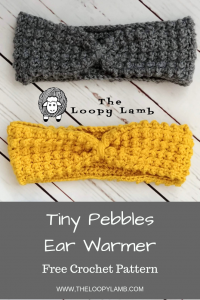 Tiny Pebbles Ear Warmer Free Crochet Pattern - Available from The Loopy Lamb Blog. A great project for beginners !