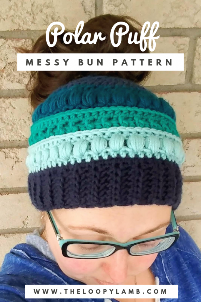 The Polar Puff Messy Bun Hat -  Free Crochet Pattern from The Loopy Lamb