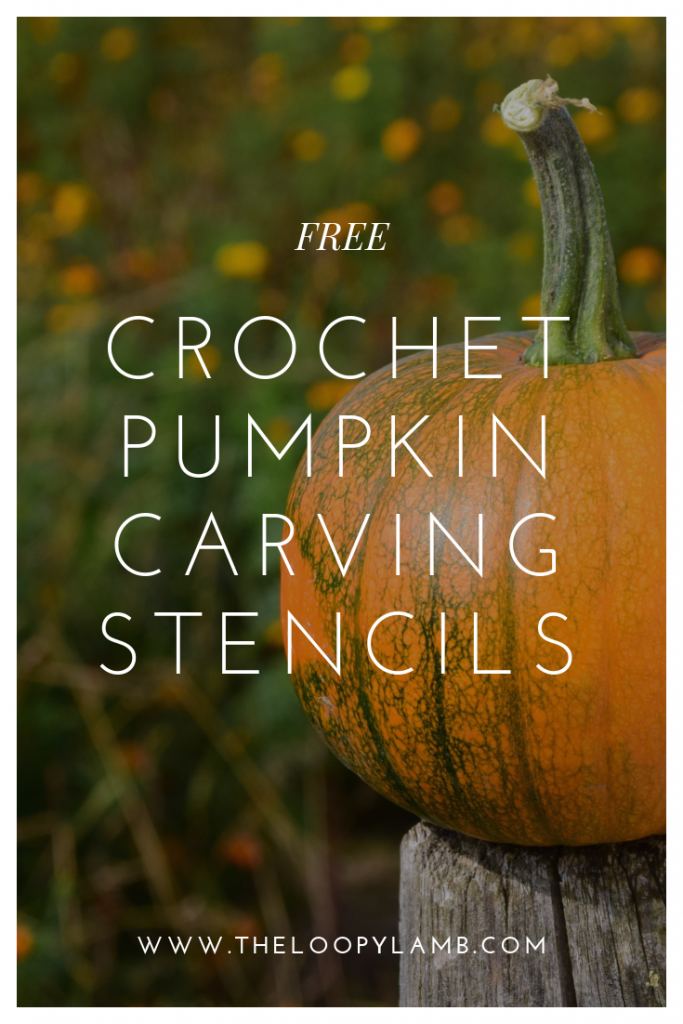 Close up image of pumpkins on a green background with word overlay that says free crochet pumpkin carving stencils