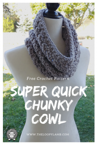 Super Quick Chunky Cowl Free Crochet Pattern - Excellent beginner's crochet pattern that can be made up in approximately an hour. Makes a great last minute gift.