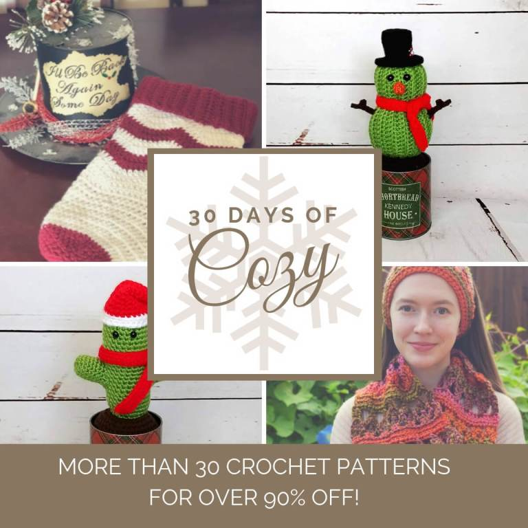 collage of photos of projects available in the 30 days of cozy bundle