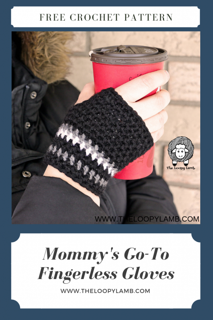 Mommy's Go-To Fingerless Gloves - Free Crochet Pattern by The Loopy Lamb #Fingerlessgloves #CrochetPattern #Freecrochetpattern #Quickcrochet #Stripedgloves #gloves #Mittens