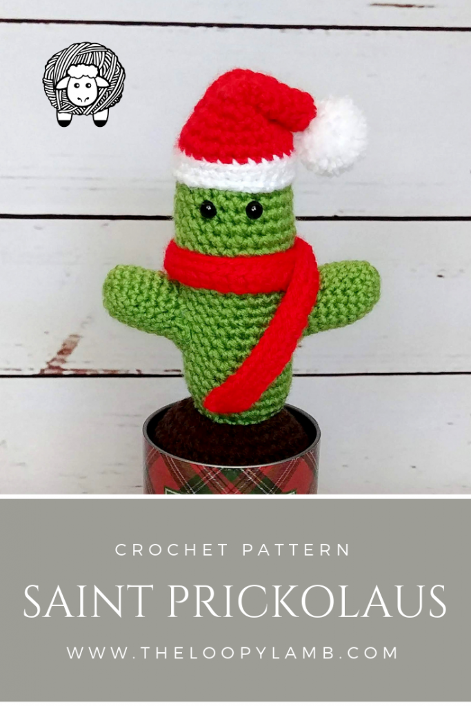 Saint Prickolaus Crochet Pattern - Available in the 30 days of cozy pattern bundle #CrochetCactus #CrochetPattern #Cactuspattern #30DaysofCozy #SaintPrickolaus