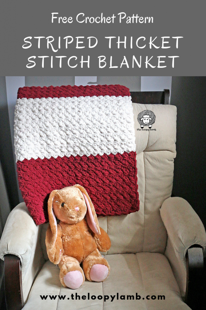 Free Crochet Baby Blanket/Lapgahn Pattern by The Loopy Lamb.  Great beginner crochet blanket pattern.