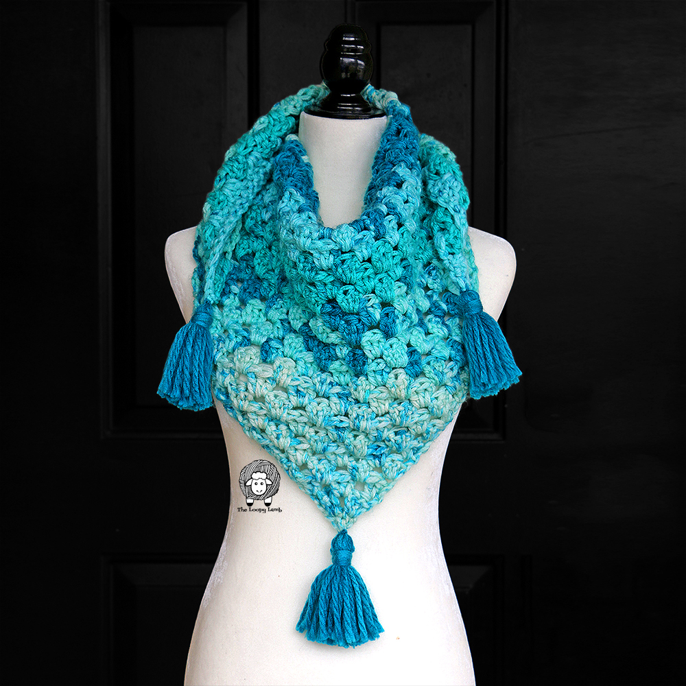 Once in a Blue Moon Triangle Scarf on mannequin