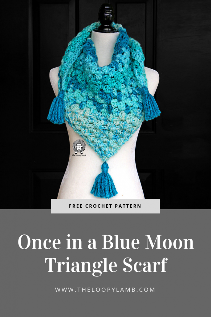 Once in a Blue Moon Triangle Scarf - Free Crochet Pattern by The Loopy Lamb   #crochet #freecrochetpattern #crochetpattern #freepattern #shawl #scarf #trianglescarf #grannystripe #caronchunkycakes