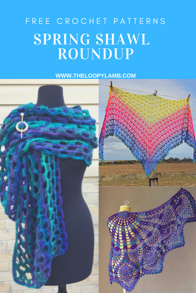 collage of beautiful crochet shawls made with free crochet patterns.
