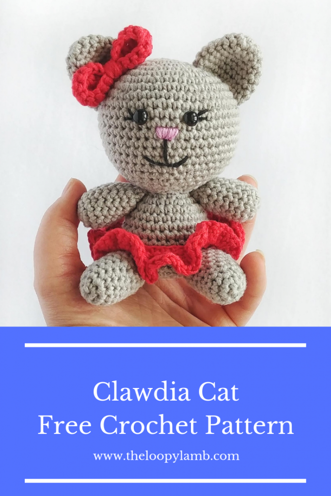 Image of Clawdia Cat, small amigurumi cat made with this free crochet pattern