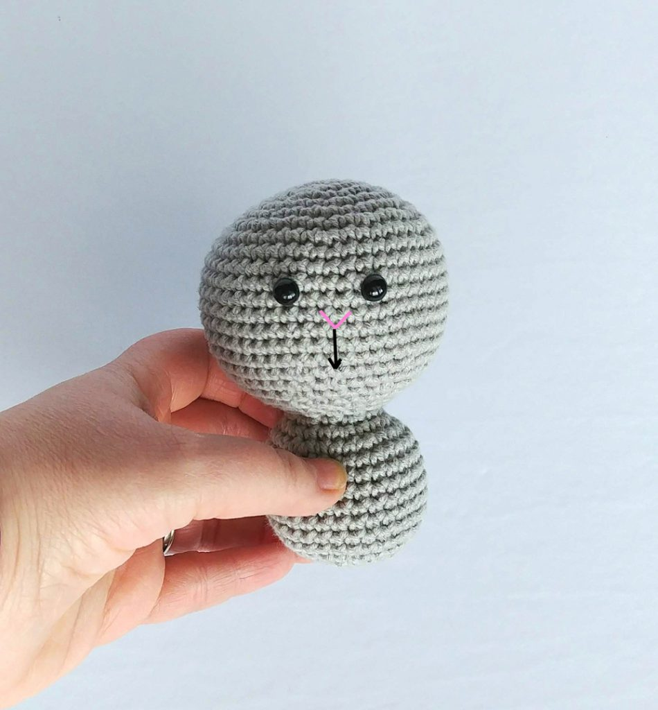 Clawdia Cat Embroidery step 2 - Amigurumi Cat Pattern Free