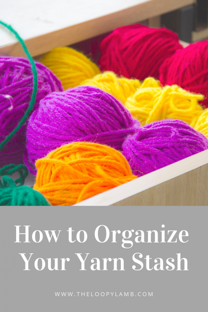 How to Organize Your Yarn Stash - Got a pile of yarn and don't know where to start taming your stash?  I share some tips to get started that will help you be more efficient and help you feel more creative.  #yarnstash #yarnorgnization #howto #organizeyarn #yarn #crochet