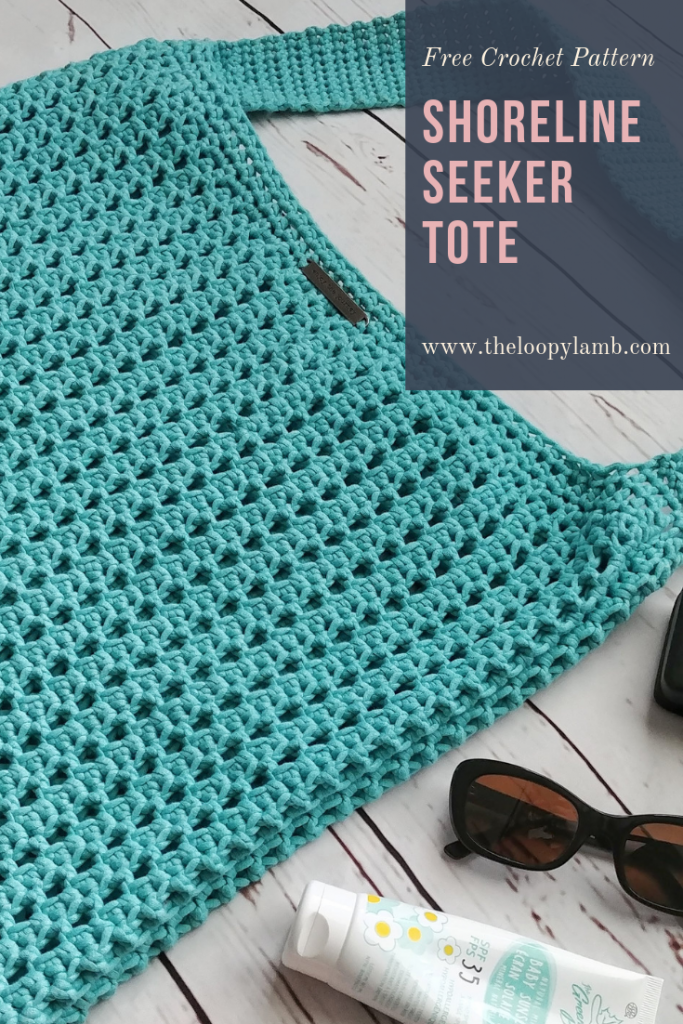 Shoreline Seeker Tote - Free Pattern from The Loopy Lamb Blog.  Quick, easy and accessible for beginners.  #crochet #tote #crochettote #marketbag #beachbag #crochetpattern #freecrochetpattern #pattern #summercrochet #beachbum #shorelineseeker