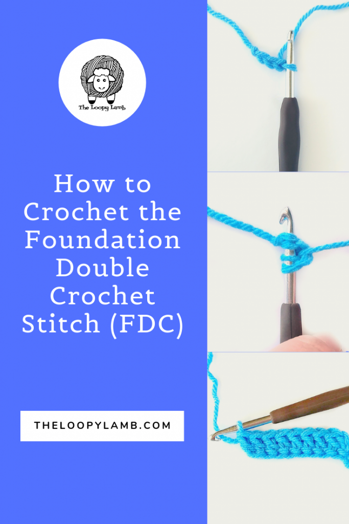 How to crochet the foundation double crochet stitch (FDC) - A stitch tutorial by The Loopy Lamb.    #crochet #crochetstitch #crochettutorial #foundationdoublecrochet #chainlessfoundation #crochethacks #doublecrochet #tutorial