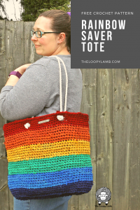 Woman holding Rainbow Saver Tote
