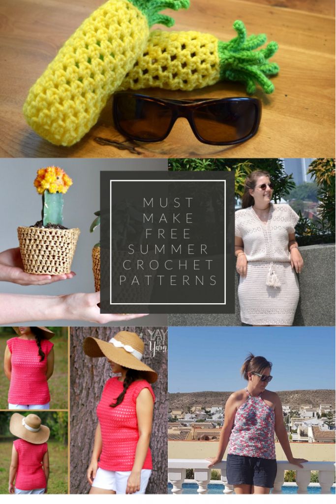 Collage of photos of must make summer crochet patterns.