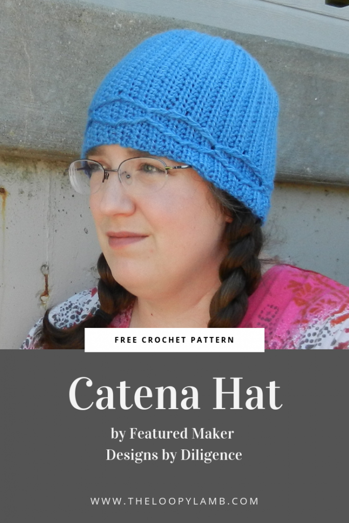 Picture of woman wearing a crochet hat with text indicating it is made with this free crochet beanie pattern
