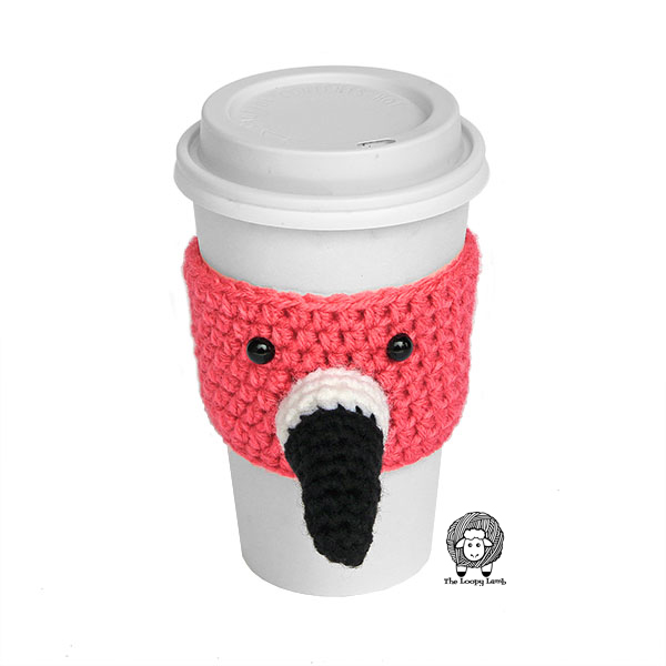Flamingo Cup Cozy on a white coffee cup