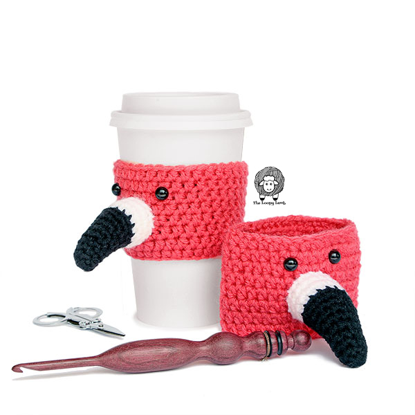 The Flamin-to-go Cup Cozy - Free Crochet Pattern by The Loopy Lamb.  This fun flamingo crochet pattern is easy, quick and accessible for beginners.    #flamingo #flamingocupcozy #cupcozy #coffeecozy #crochet #crochetpattern #freecrochetpattern #beginnercrochetpattern #crochetcoffeecozy #crochetflamingo #animalcupcozy