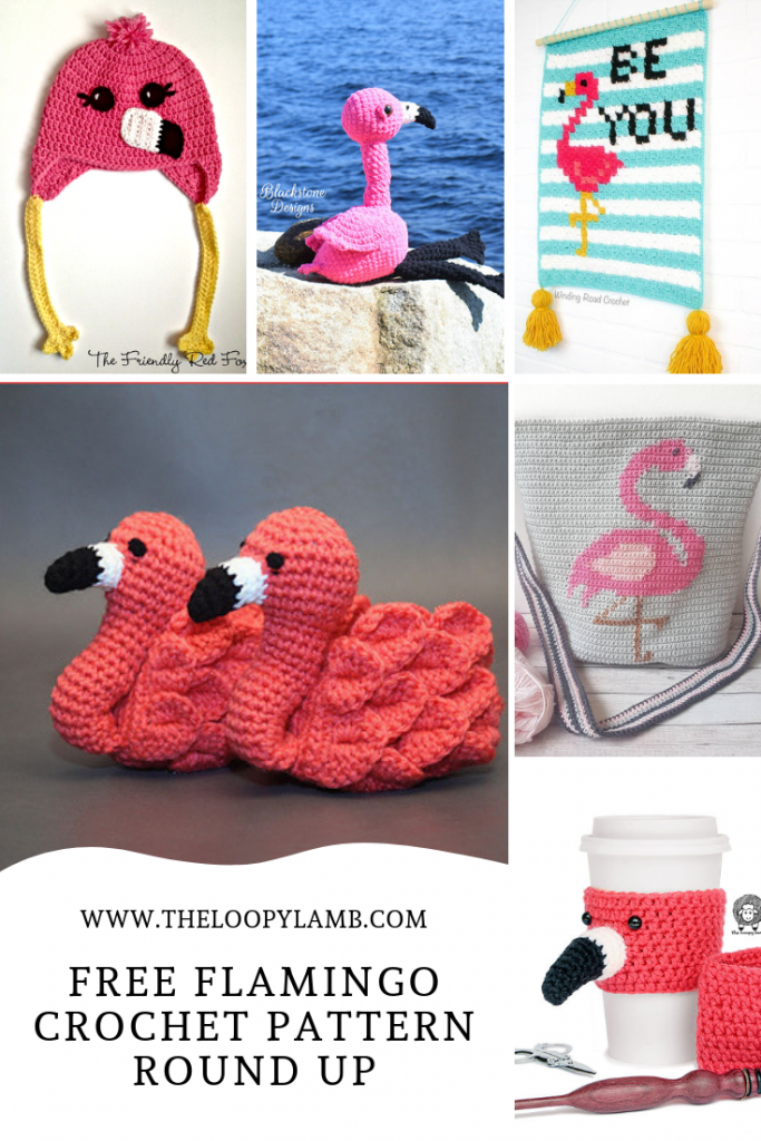 image collage of various free flamingo crochet patterns.
