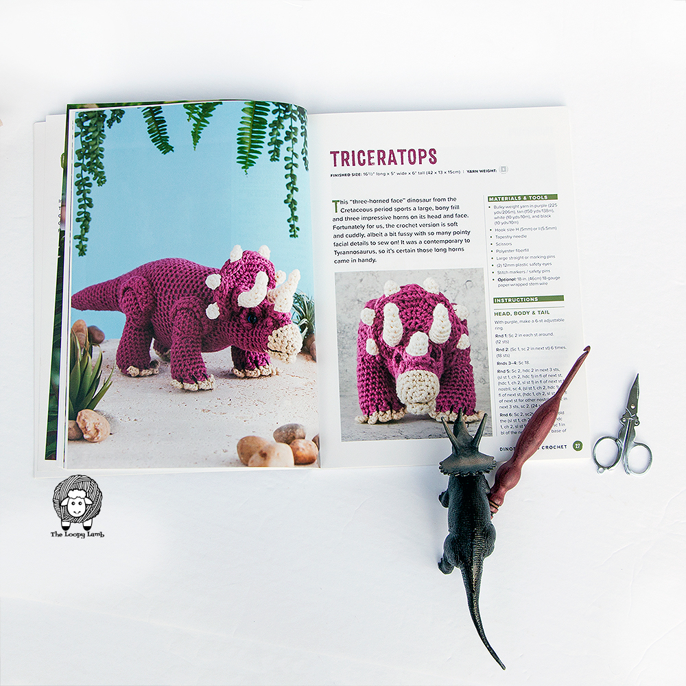 Preview of crochet triceratops from new dinosaur pattern book by Megan Kreiner
