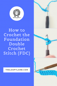 Learn how to crochet the foundation single crochet stitch with this simple and clear step-by-step photo tutorial by The Loopy Lamb