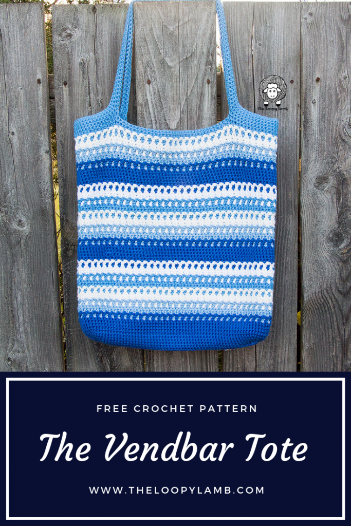 "The Vendbar Tote Bag - A Free Crochet Pattern by The Loopy Lamb.  The Vendbar Tote has a wonderful texture, easy colour changes and best of all....it's reversible!  The bag has a totally different and beautiful texture on the inside that is just as beautiful as the ""right side"".    #freecrochetpattern #crochettotebag #Crochetmarketbag #Crochetbag #easycrochetpattern #cottonyarn #reversiblebag #reversiblecrochet"