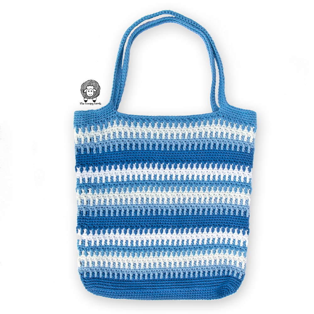 Blue Tote Bag, Crochet Tote Bag, Crochet Market Bag, Striped Bag