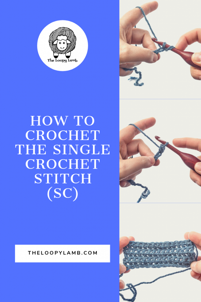 step by step photos showing how to do the single crochet stitch.