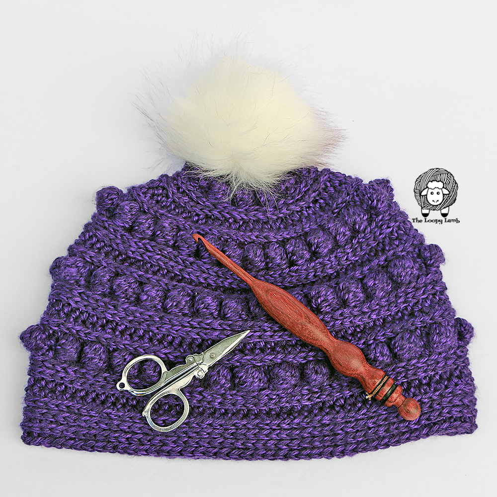 The Aeipathy Beanie with handmade wooden crochet hook and scissors laid on top