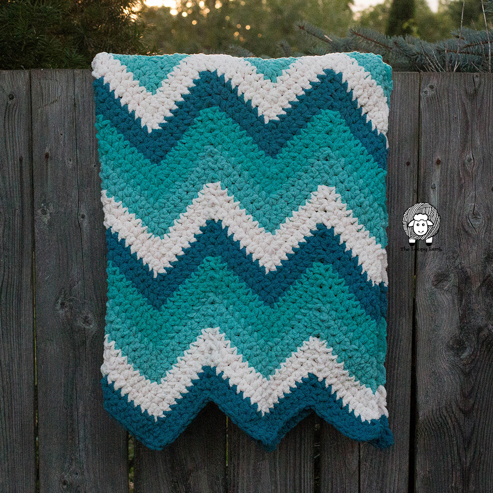 Timeless Teal Chevron Blanket Crochet Pattern