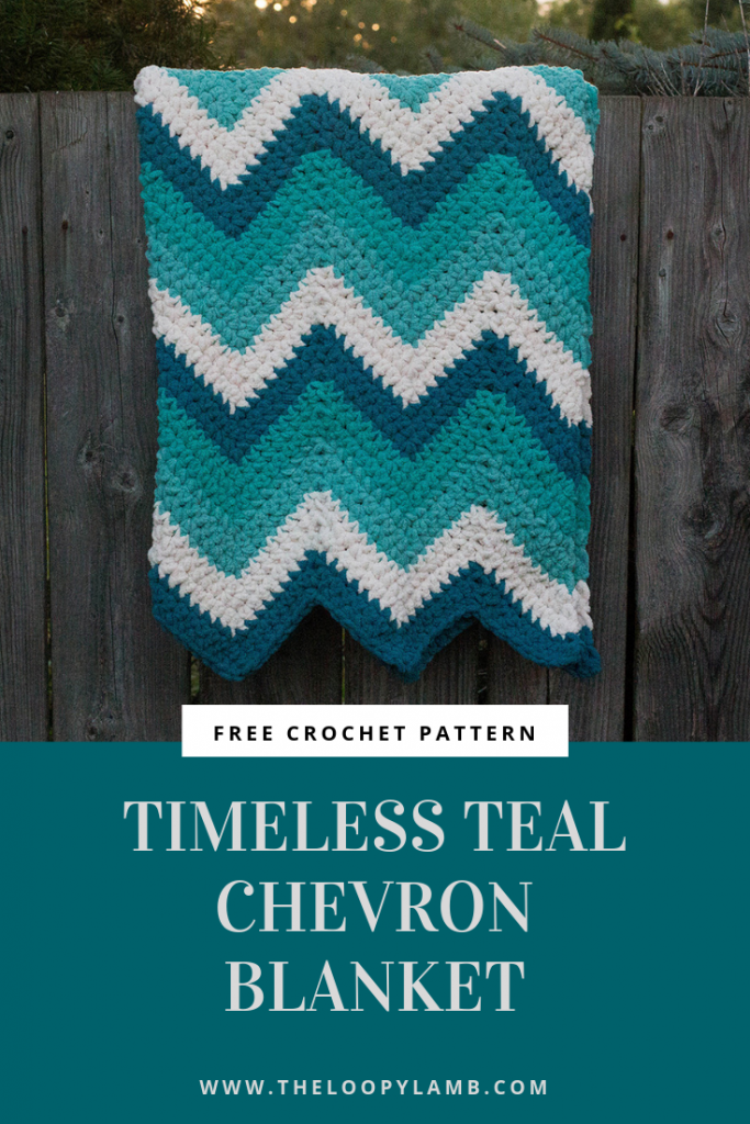 Timeless Teal Chevron Blanket Blanket: Chevron blanket in shades of teal and cream made with chunky chenille yarn
