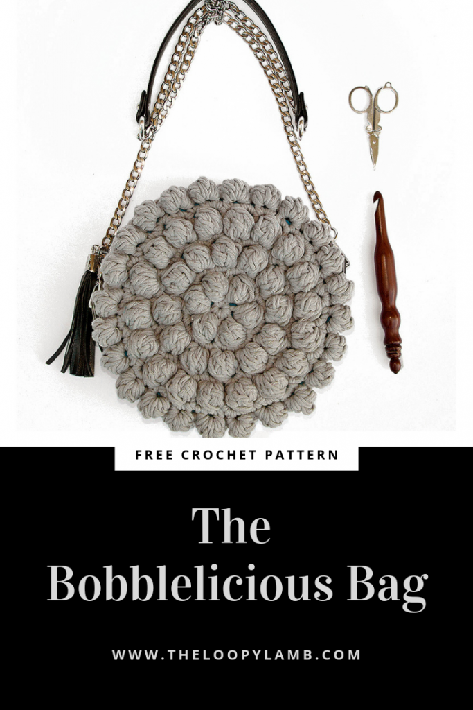 The Bobblelicious Bag: a round crochet purse with a chain style strap comprised of chunky bobble stitches