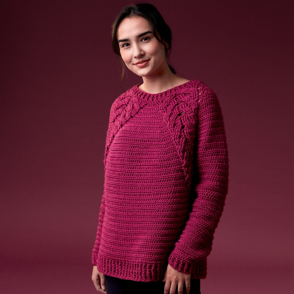 Caron Branching Out Crochet Pullover, free crochet sweater pattern