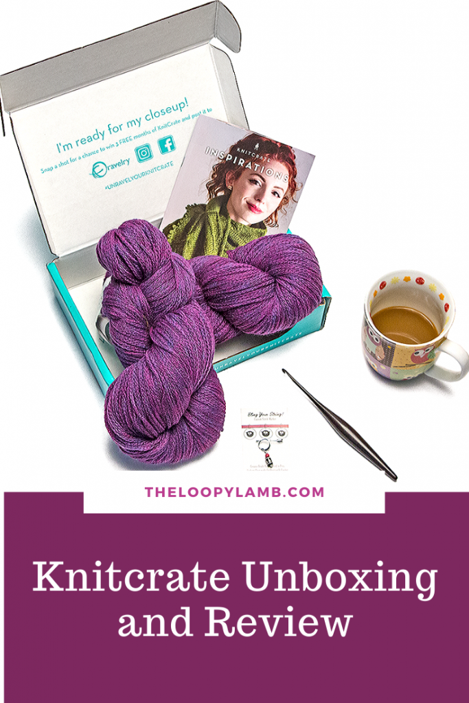 Open Knitcrate Subscription box showing purple yarn, pattern book and stitch marker