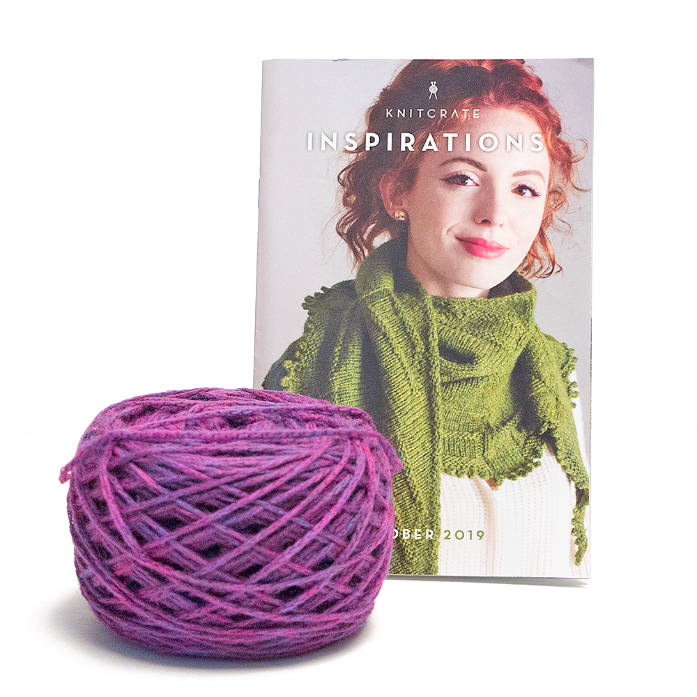 Picture of the pattern book that comes in the October 2019 Knitcrate