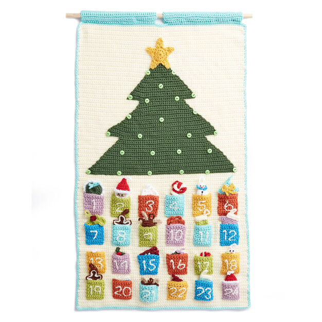 Crochet advent calendar featuring tree and colourful numbers