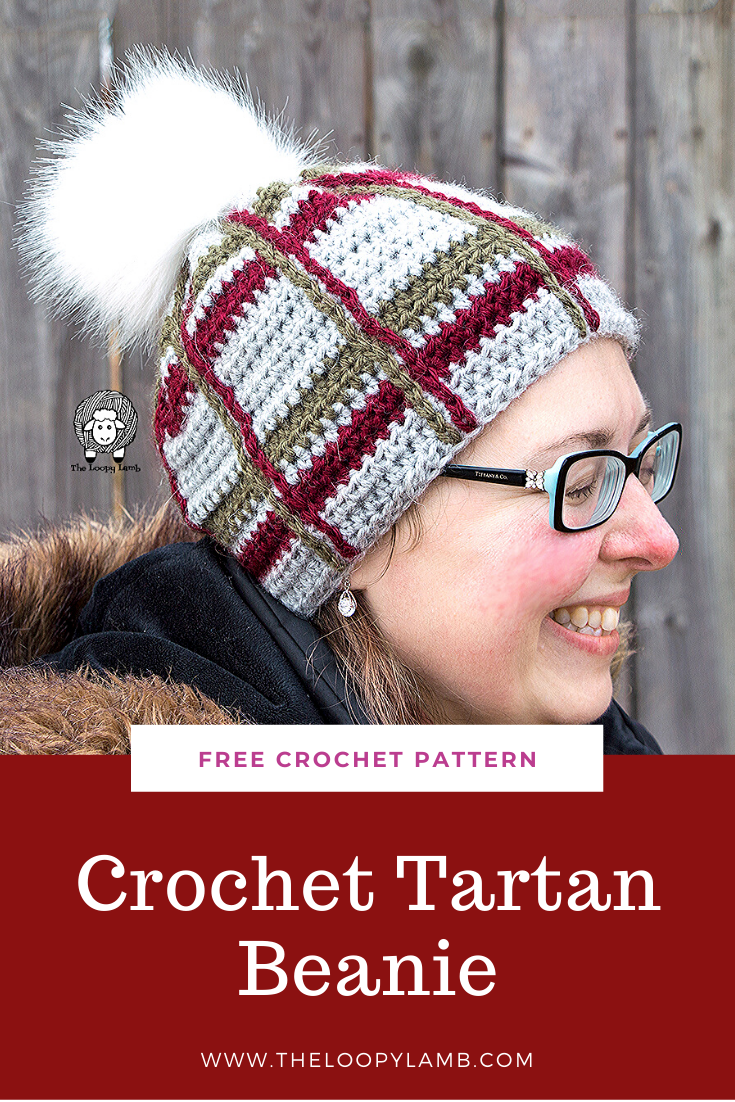 Woman laughing wearing the Crochet Tartan Beanie
