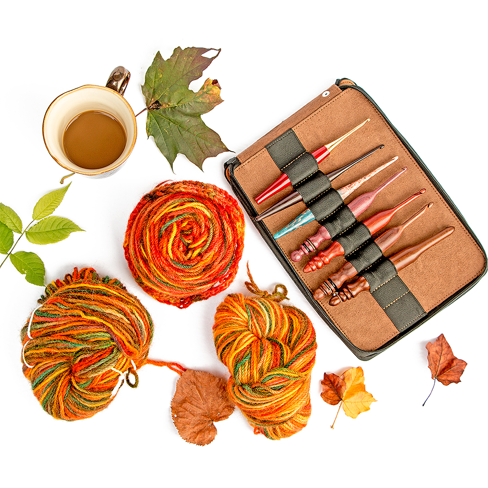 Global Materials Leather Pencil Case with fall coloured leaves