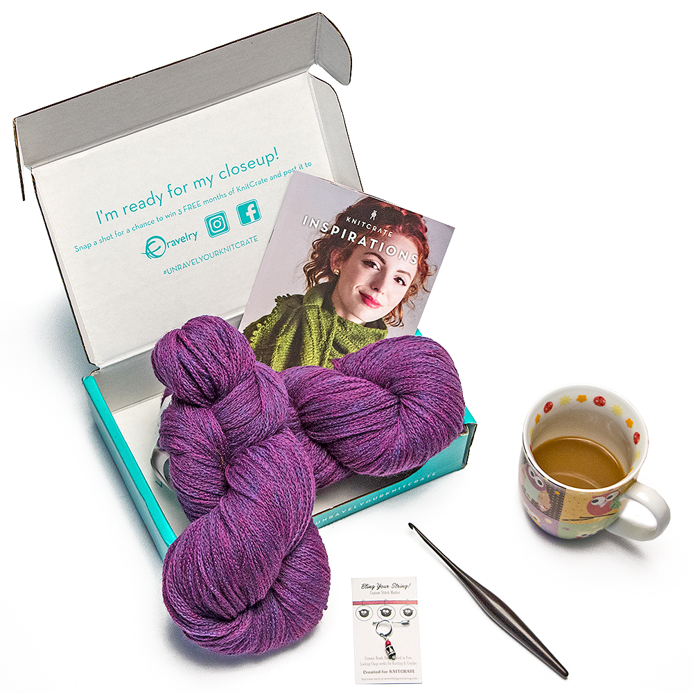 Contents of a Knit Crate Subscription Box.  The Knitcrate subscription box is a great Christmas gift idea for crocheters.
