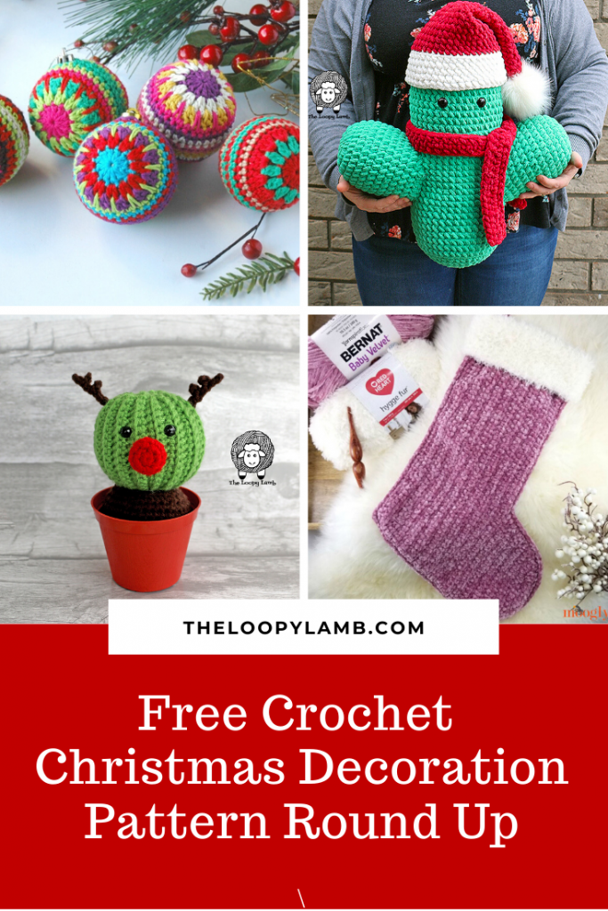 Collage of Christmas Crochet Decoration projects with a word overlay.