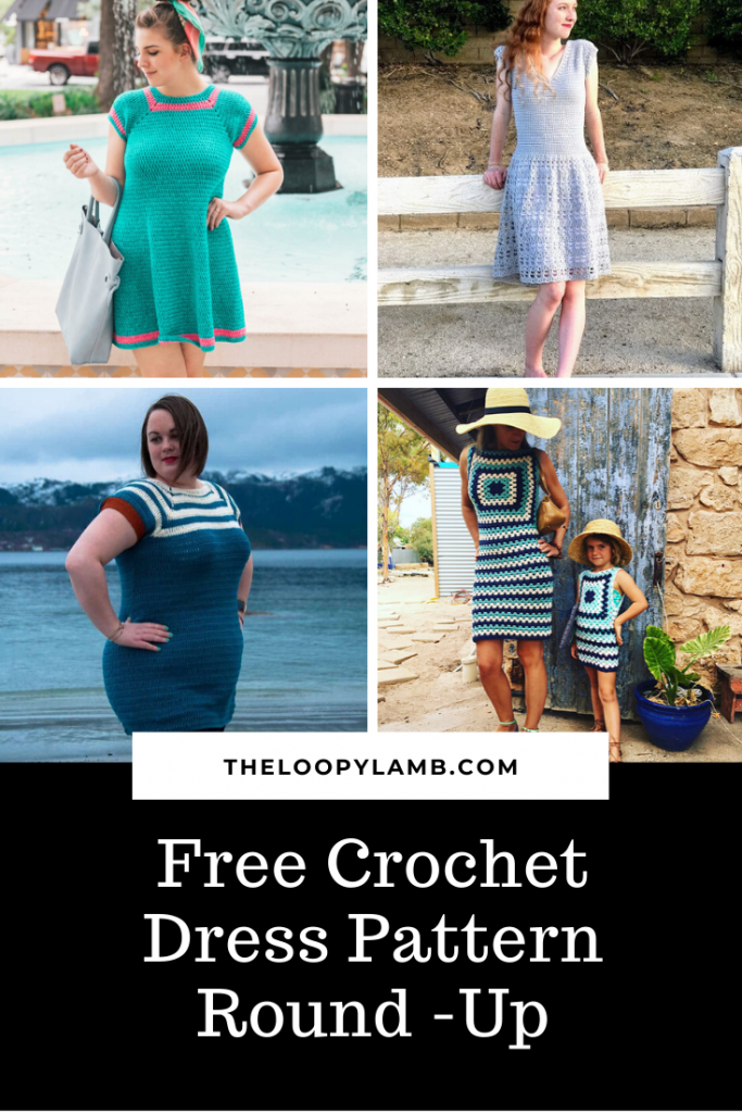 collage of images of free crochet dress patterns