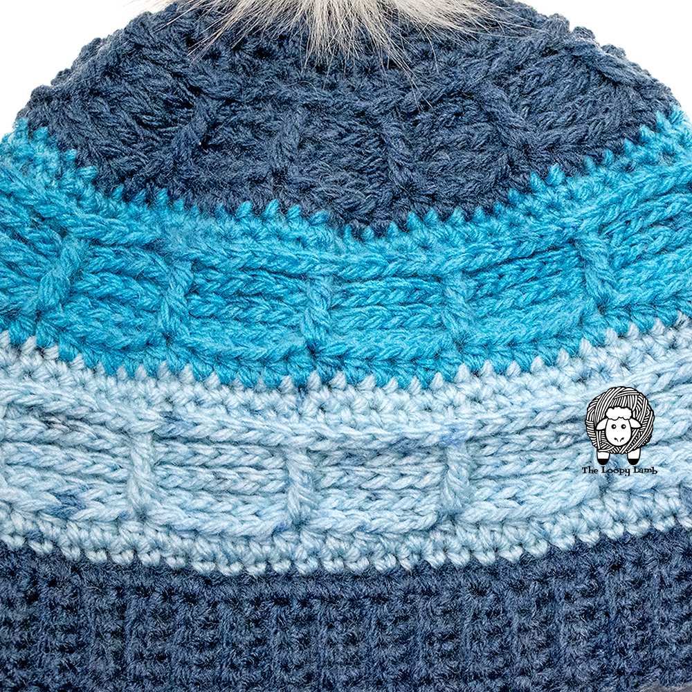 Close up of the texture of the Juneau Blues Beanie