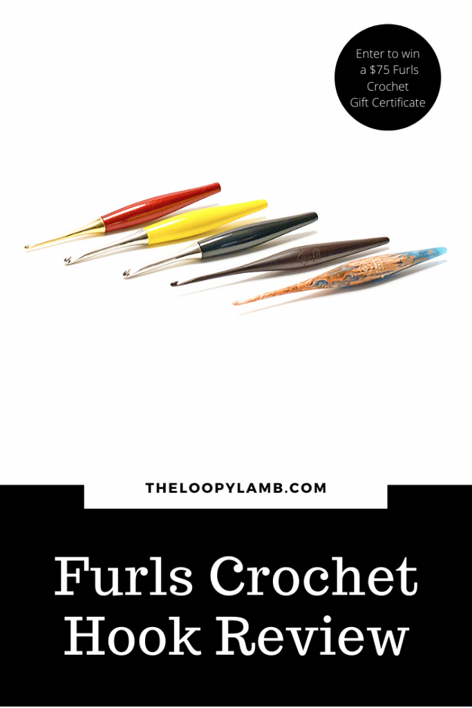 Image of the hooks available from the furls crochet hook product line with a word overlay.