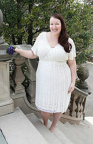 woman wearing a handmade plus size wedding dress.