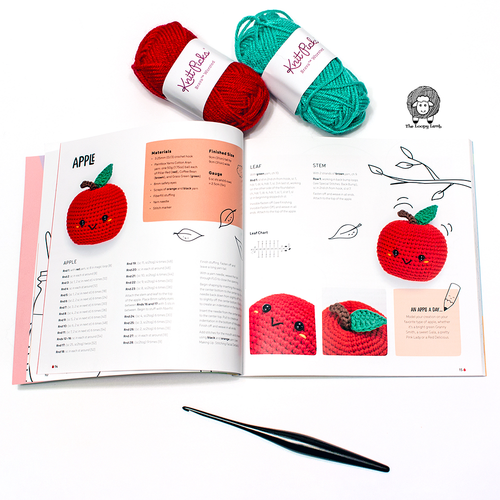 Kawaii Crochet by Melissa Bradley open to pattern page featuring image of an apple.