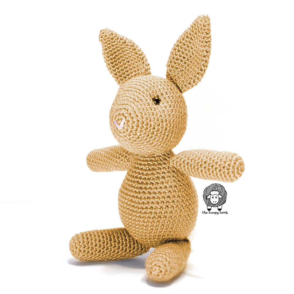 Brown Bunny made with this Free Bunny Crochet Pattern