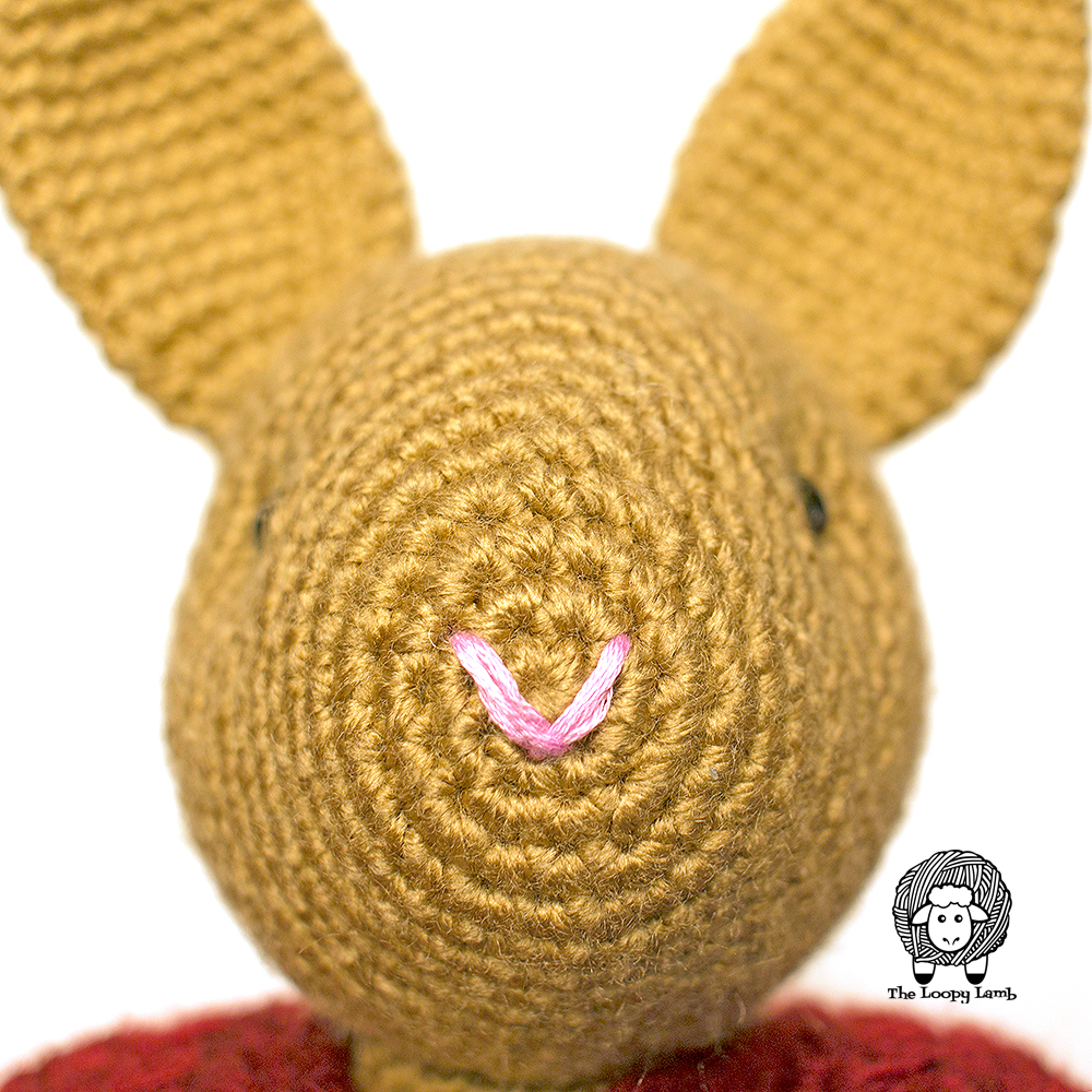 close up image of Buttons the Bunny's face to show placement of embroidery stitches.