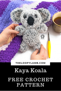 Crochet Koala made with Fur Yarn being held in someone's hands.